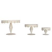 Set of 3 Shabby White Stands