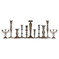 Assorted Silver Candlestick Holders