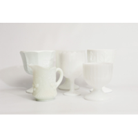 Assorted Milk Glass Vases and Compotes