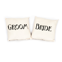 Pair of Art Deco Bride & Groom Pillows