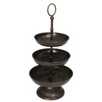 Dark Bronzed Three Tiered Serving Tray