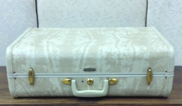 Vintage Tan & Cream Marble Suitcase