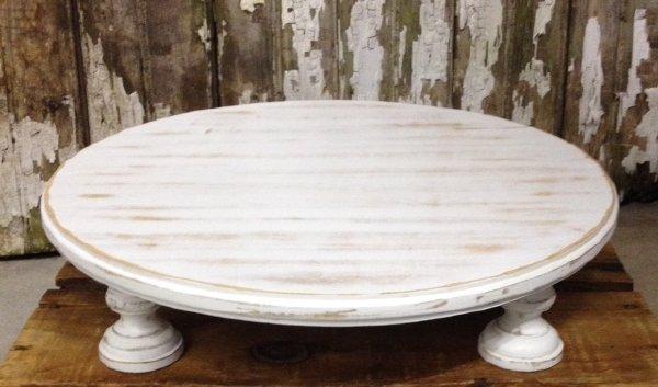 White Wash Wooden Cake Pedestal