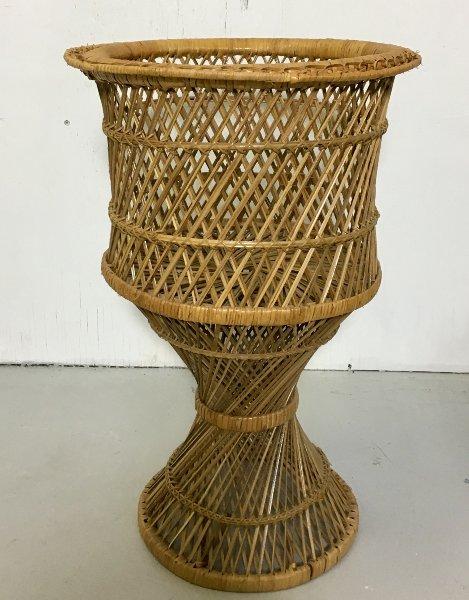 Short Vintage Twisted Rattan Planter