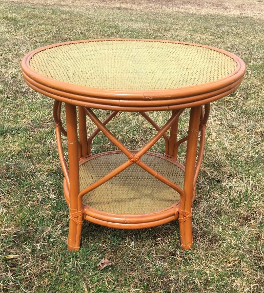 Vintage Rattan Top Round Accent Table