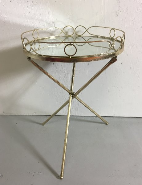 Mirror Top Gold Tripod Accent Table