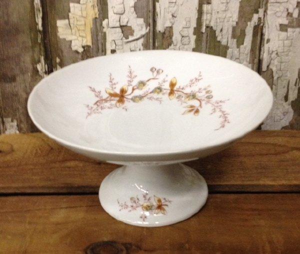 Vintage Rustic Floral Glass Pedestal