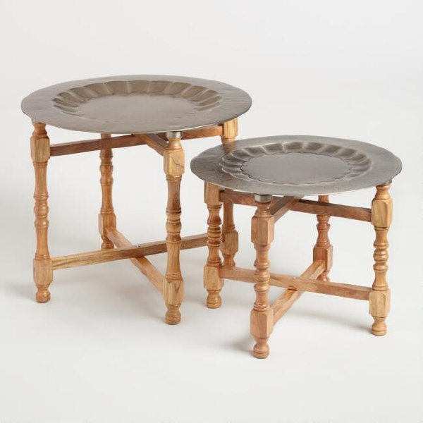 Set of Two Metal & Wood Accent/Coffee Tables