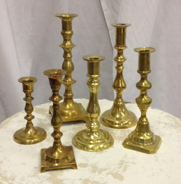 Assorted Vintage Brass Taper Candlestick Holders