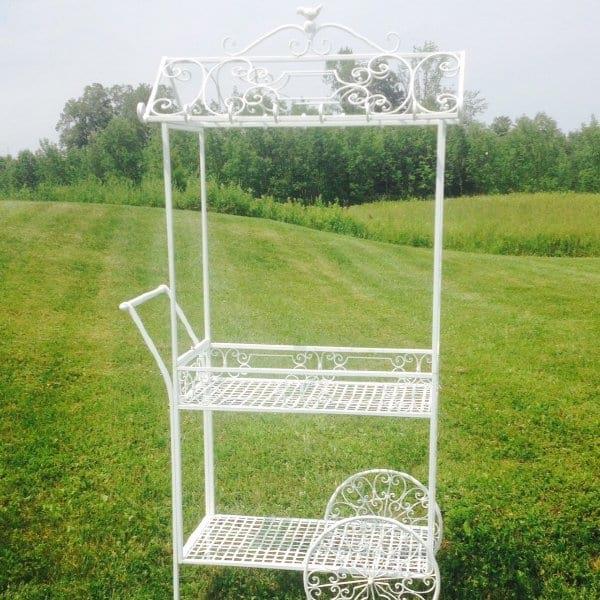 Wrought Iron White Garden Cart
