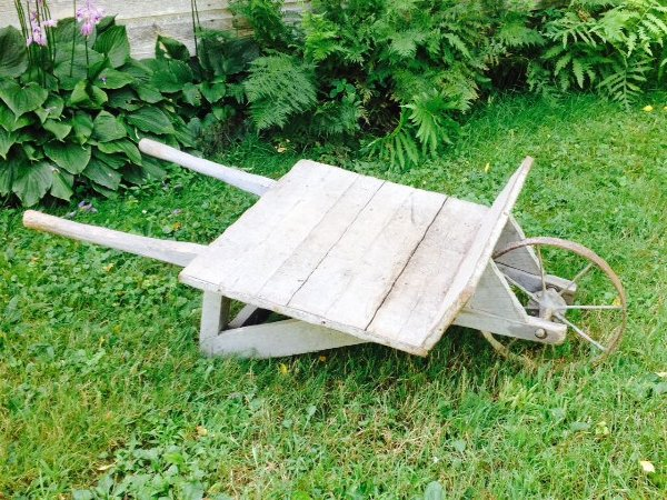 Rustic Chippy Wooden Wheelbarrow