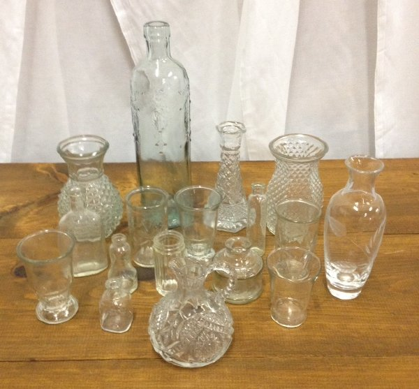 Assorted Clear Vintage Vases