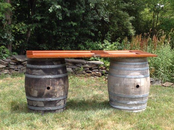 Wine Barrel Table with Dark Door Topper