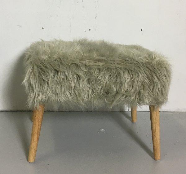 Grey Flokati Stool