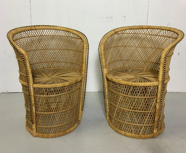 Set of 2 Vintage Rattan Barrel Chairs