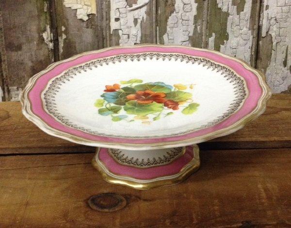 Vintage Pink, Gold, Floral Pedestal