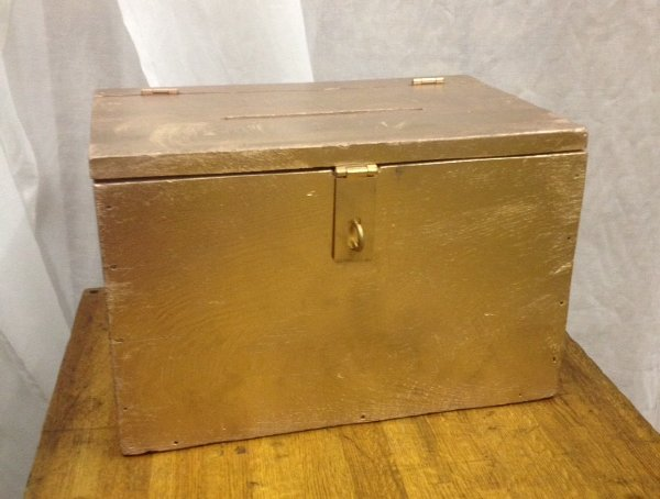 Rose Gold Vintage Wooden Ballot Box