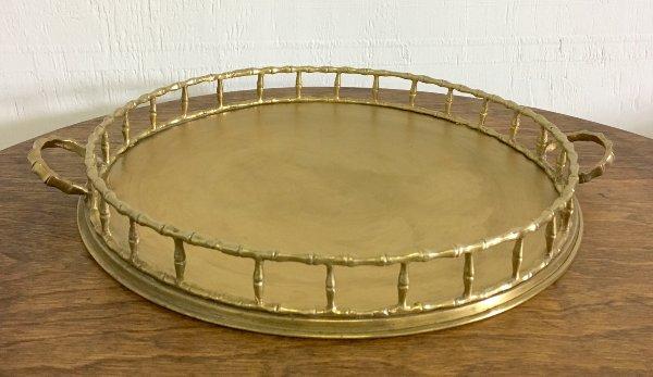 Vintage Brass Bamboo Design Tray