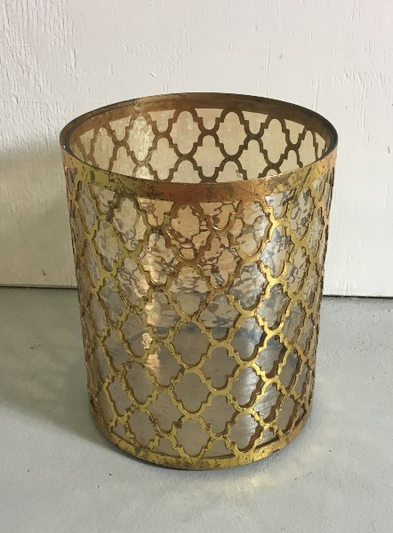 Moroccan Lattice Gold Pillar Candle Holder