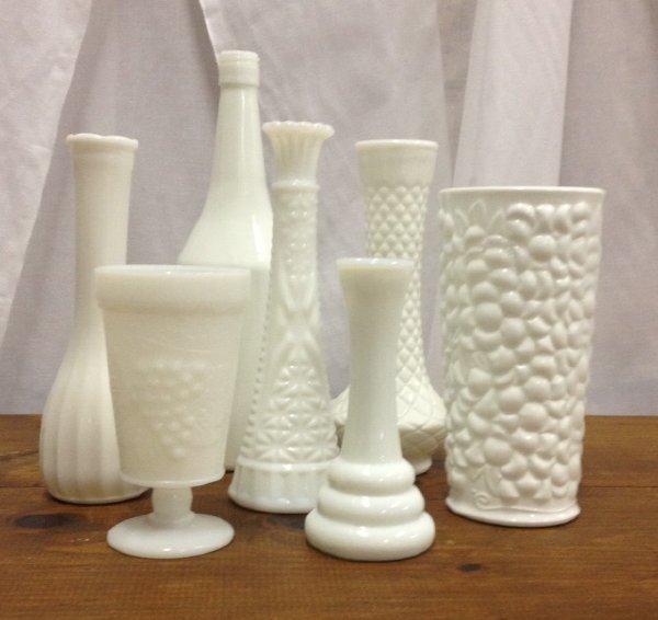 Assorted Milk & Hobnail Vases