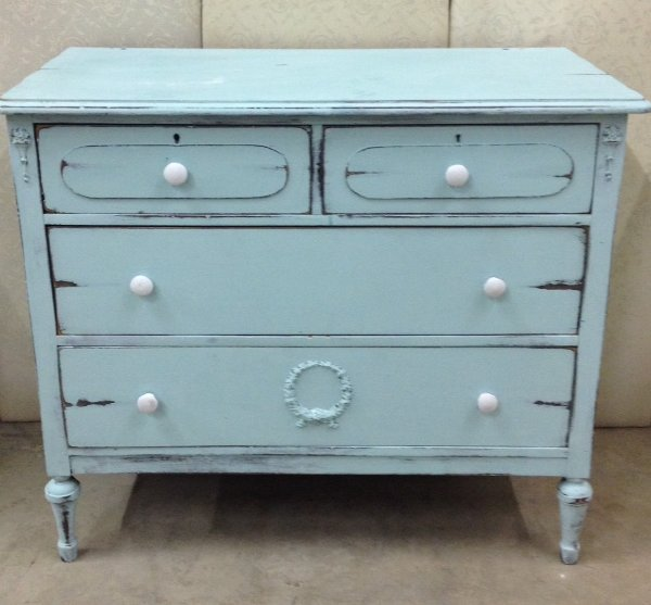 Vintage Robin Egg Blue Dresser