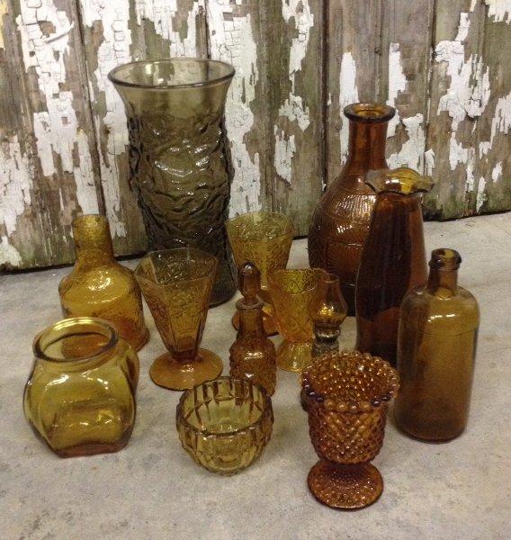 Set: 12 Assorted Vintage Amber Glass Vessels