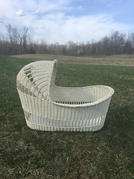 Vintage, White Wicker Table Top Bassinet