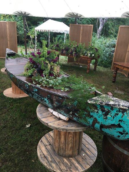 Vintage Patina Canoe Buffet Table / Bar