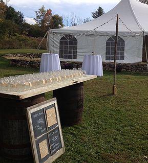 Wine Barrel Table with Chippy Door Topper
