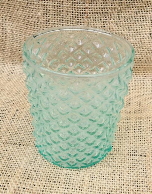 Set of 5: Vintage Green Diamond Tea Light Candle Holders