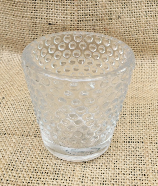 Set of 5: Clear Hobnail Tea Light Candle Holders