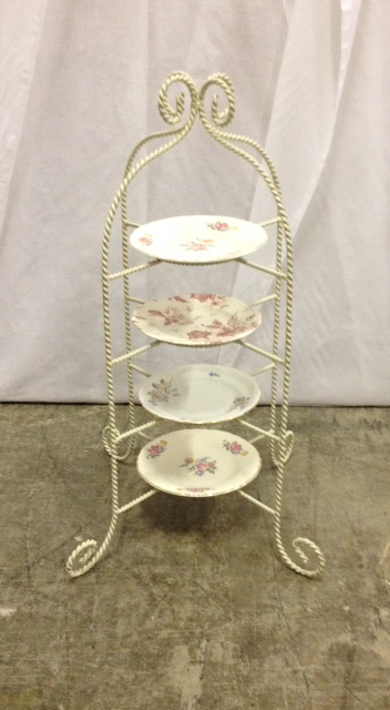 Four Tier Plate Stand, Includes Plates