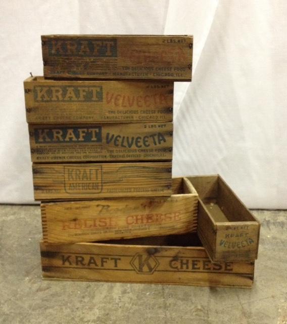 Set: 7 Assorted Vintage Wooden Kraft Boxes