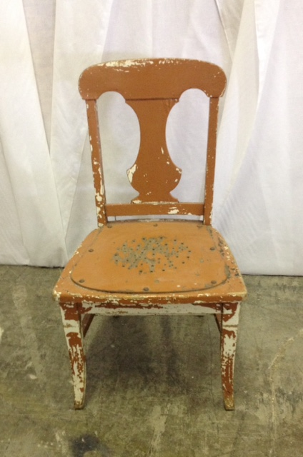 Miniature Rust Colored Chippy Wooden Chair