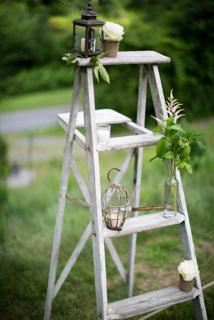 Vintage Chippy Blue Wooden Ladder