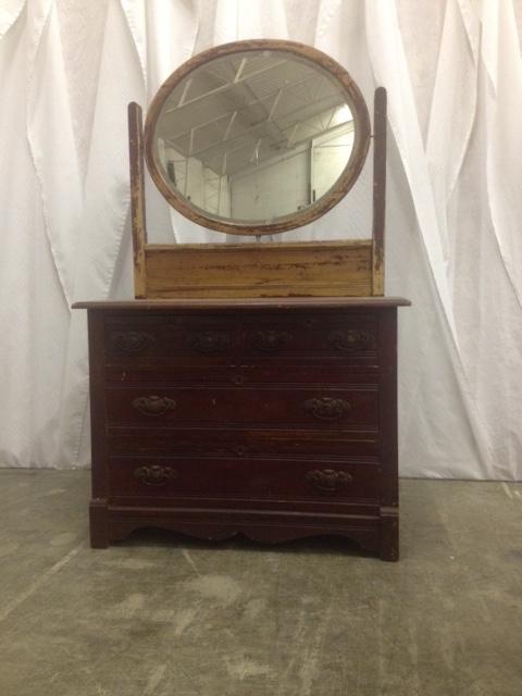 Vintage Chippy Mirror Dresser