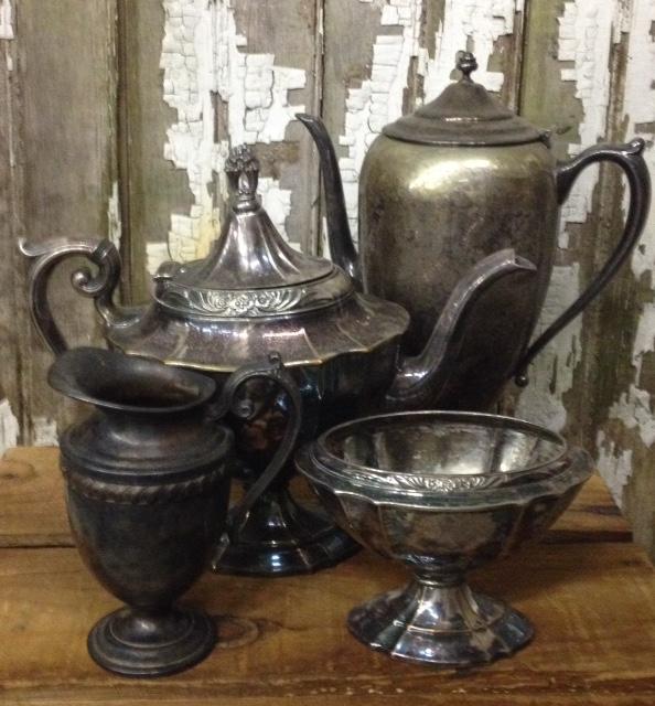 Set: 4 Assorted Vintage Silver & Pewter Props