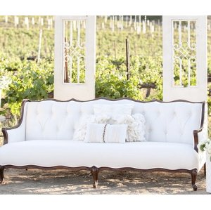 VINTAGE WHITE AND WOOD SOFA