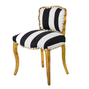STRIPED BLACK AND WHITE SIDE CHAIR