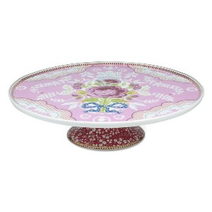 PINK FLORAL PORCELAIN CAKE PLATE