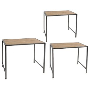 WOOD AND METAL SIDE TABLES S/3