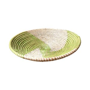 WICKER BOWL GREEN AND WHITE