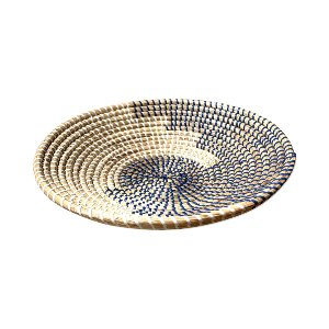WICKER BOWL BLUE AND WHITE