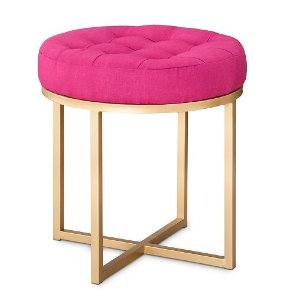 PINK BUTTON TUFT STOOL