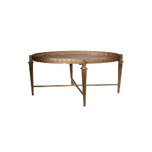 GOLD METAL COFFEE TABLE, OVAL