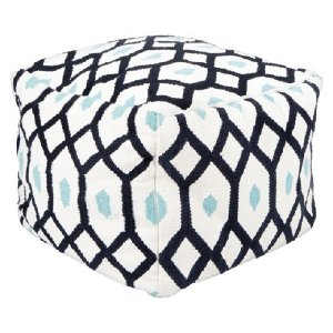 NAVY BLUE GEO SQUARE POUF