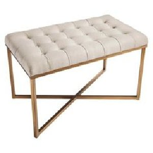 BUTTON TUFT BENCH, GOLD FRAM