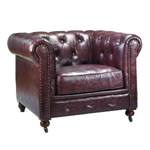 WINCHESTER LEATHER TUFTED ARMCHAIR