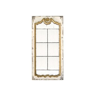LARGE ANTIQUE WHITE AND GOLD MIRROR