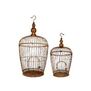 S/2 METAL BIRD CAGES, RUSTIC